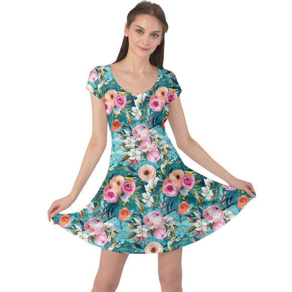Teal Floral Cap Sleeve Dress - XS - Mid Length Dresses