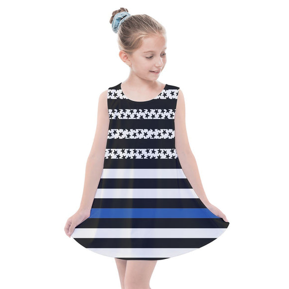 Thin Blue Line Summer Dress - Kids - Multi / 2 - Kids Dresses