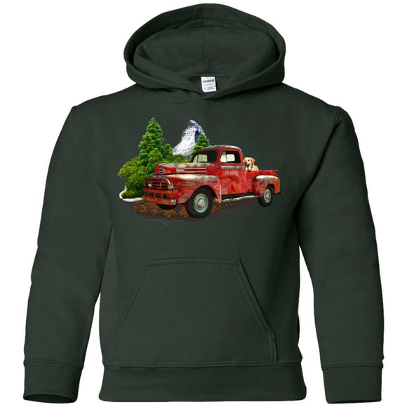 Vintage Red Truck Pullover Hoodie - Kids - Forest Green / SM - Kids Sweatshirts