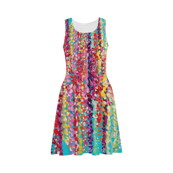 Watercolor Floral Sundress - XS - Short Dresses/Tunics