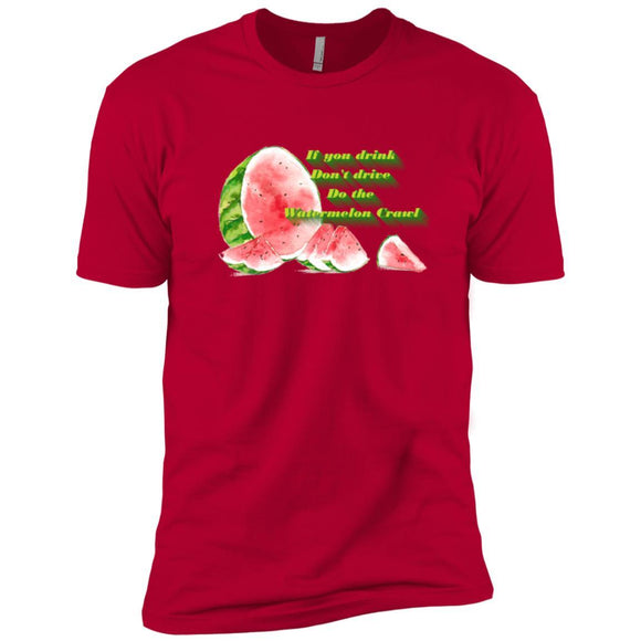 Watermelon Crawl T-shirt Premium Short Sleeve Tees - Adult - Premium Short Sleeve T-Shirt / Red / S - T-Shirt
