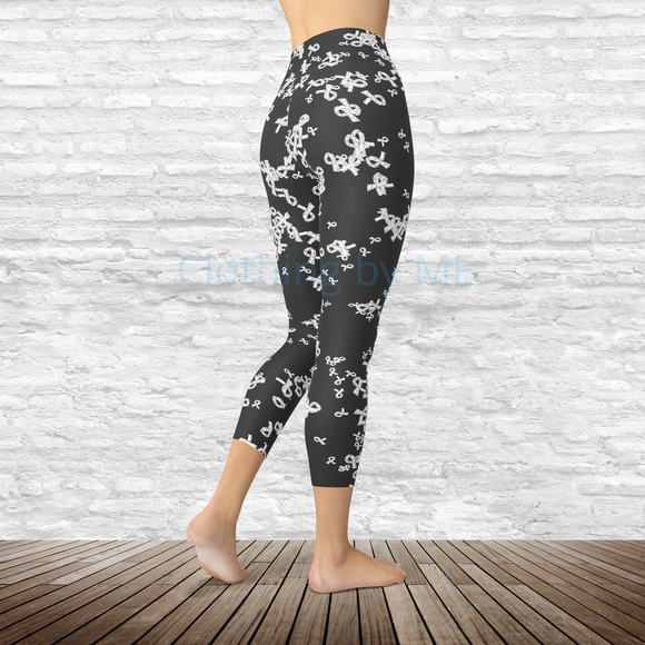 White Awareness Ribbon - Capri Leggings - Capris