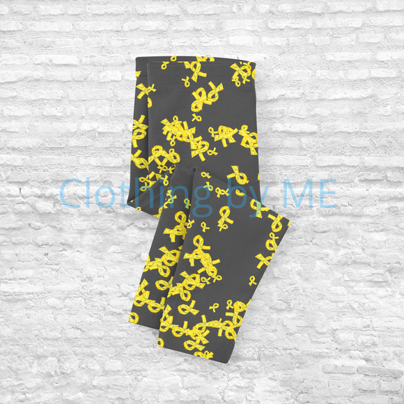 Yellow Awareness Ribbon - Kids Leggings - Kids Leggings