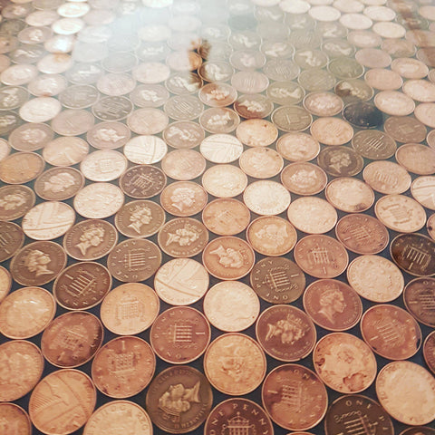Resin coin bar top