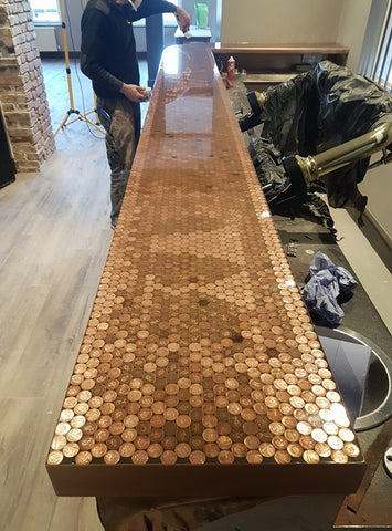 penny bar top by The Resin Workshop Co