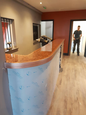A finished penny bar at Wax bar and restaurant Newquay