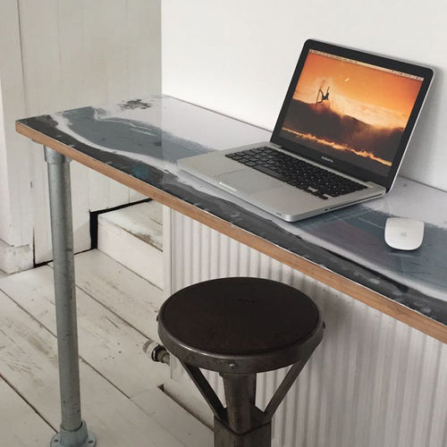 Scandi style resin art desk top. Made by The Resin Workshop Co