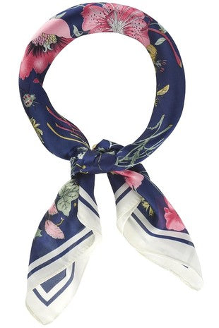 Navy Floral Silky Scarf