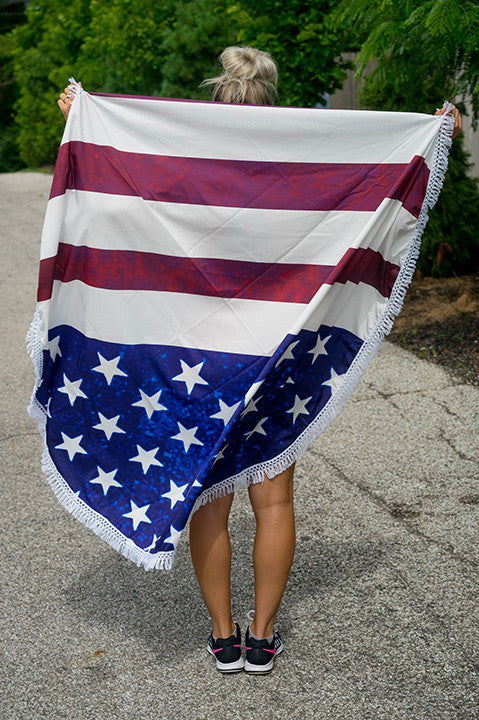 USA Fringe Beach Throw