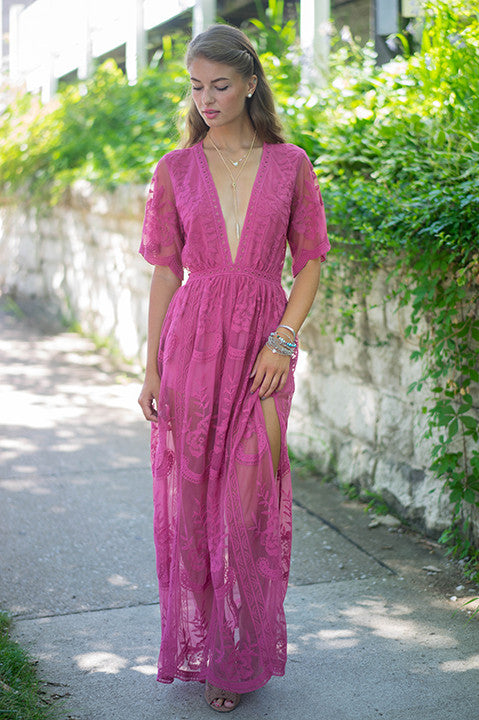 To The Nine Lace Maxi Romper (Raspberry)