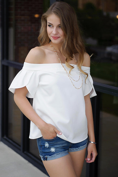 Catalina Off Shoulder Top (White)