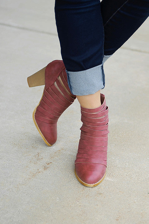Urban Street Bootie - Burgundy (Final Sale)
