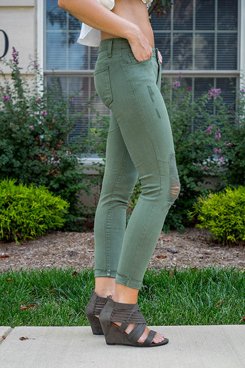 Destroyed Skinny Jean Just Black USA (Olive)