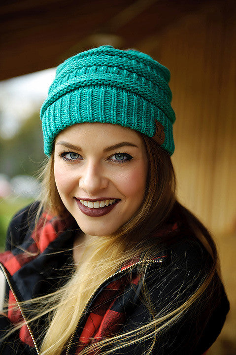Mix Color Knitted Beanie (Teal)
