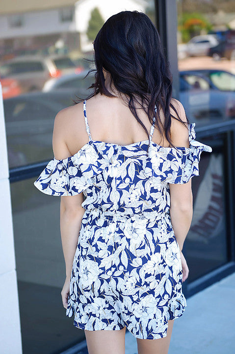 On The Dot Floral Romper - Navy FINAL SALE