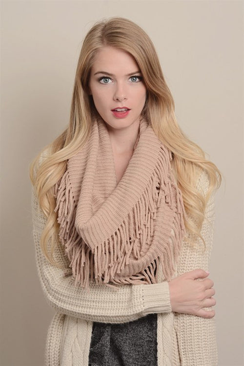 Ribbed Fringe Infinity Scarf (Peach)