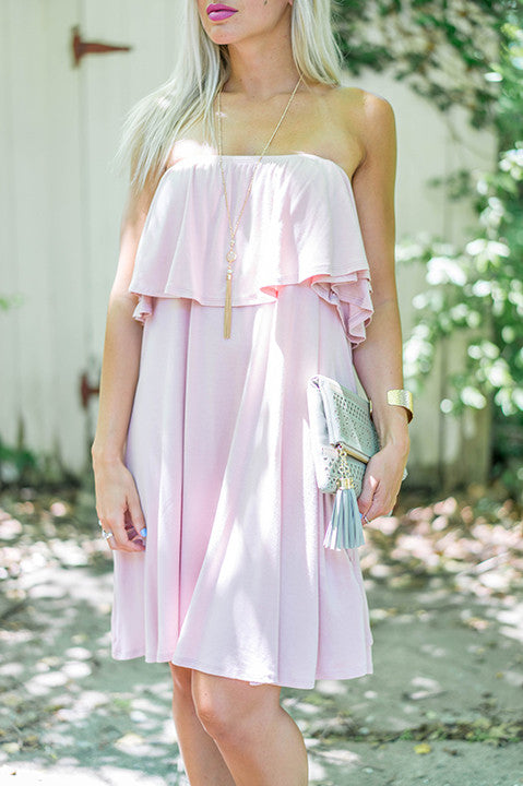 Work It Off Shoulder Dress - Pink FINAL SALE