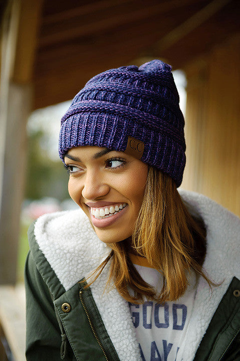 Mix Color Knitted Beanie (Purple)