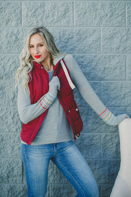 Stay Toasty Hooded Vest (Wine)