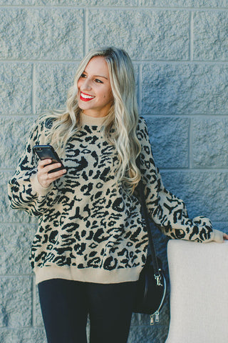 Steal The Spotlight Leopard Print Sweater