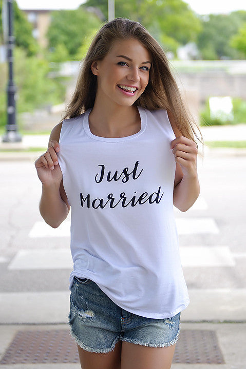 Just Married Tank Top (White)
