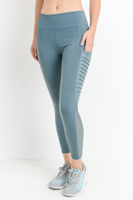 Simmons Side Mesh Leggings W/ Pocket (Teal )