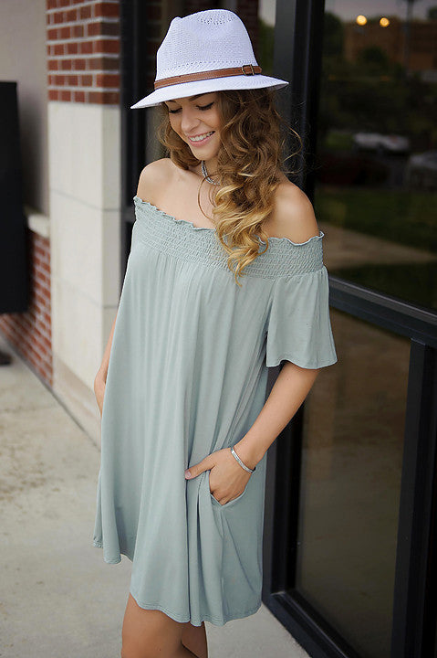 Sweet Talker Off Shoulder Dress (Sage)