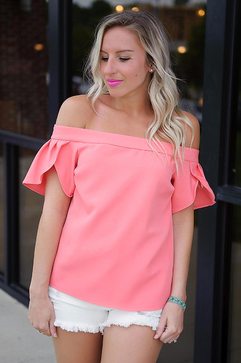 Catalina Off Shoulder Top (Coral)