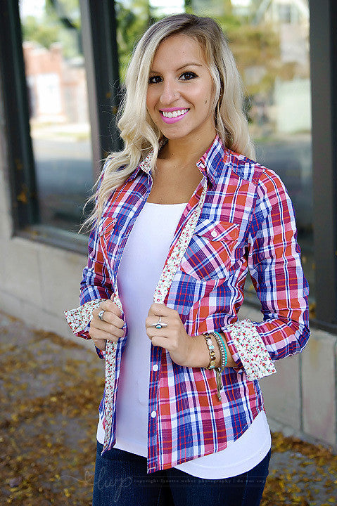 Small Town Plaid Top - Red/Navy (Final Sale)