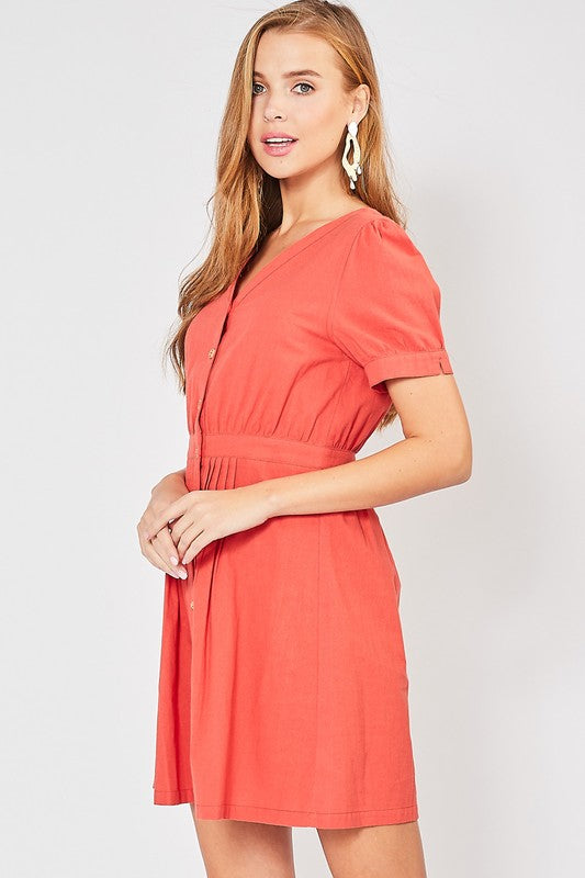 Lorainne Button Up Dress (Burnt Red)