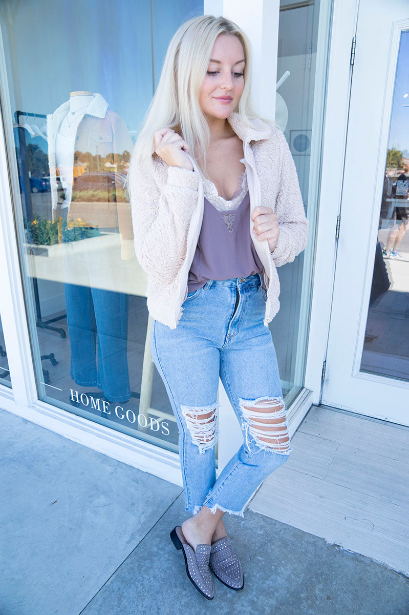 Z Supply The Sherpa Crop Jacket (Pearl)