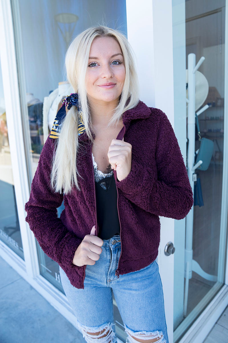Z Supply The Sherpa Crop Jacket (Wine)