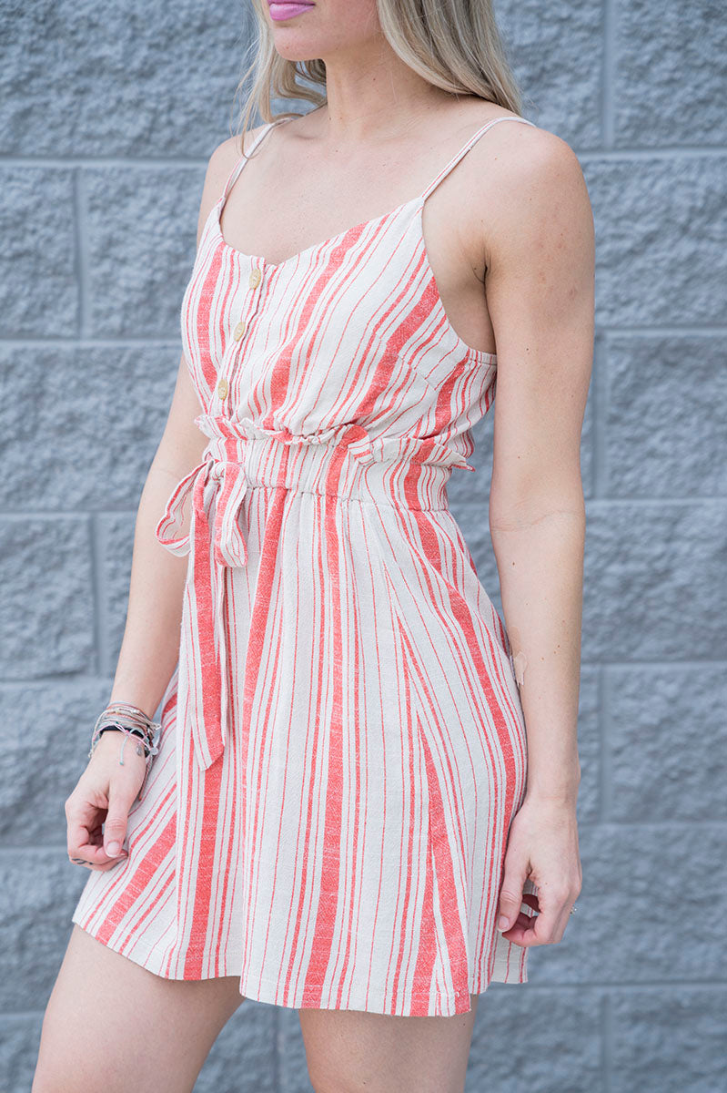 Tessie Striped Drawsting Dress