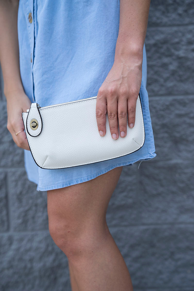 Mini Crossbody Wristlet - White