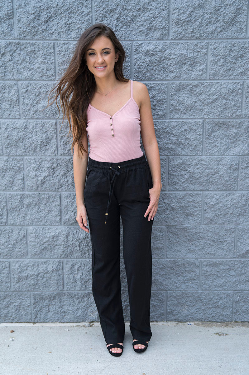 Mackenzie Linen Pants (Black)