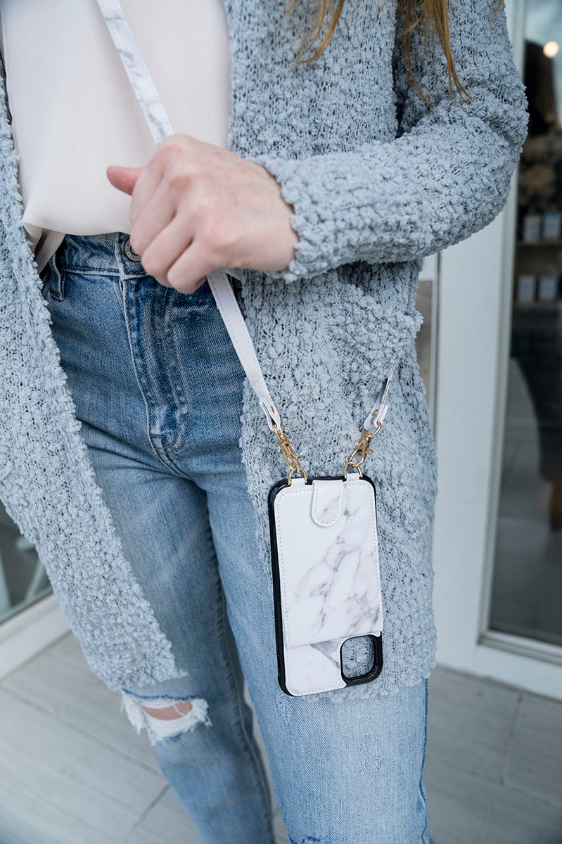 Crossbody Cell Phone Case W/Wallet (Marble)
