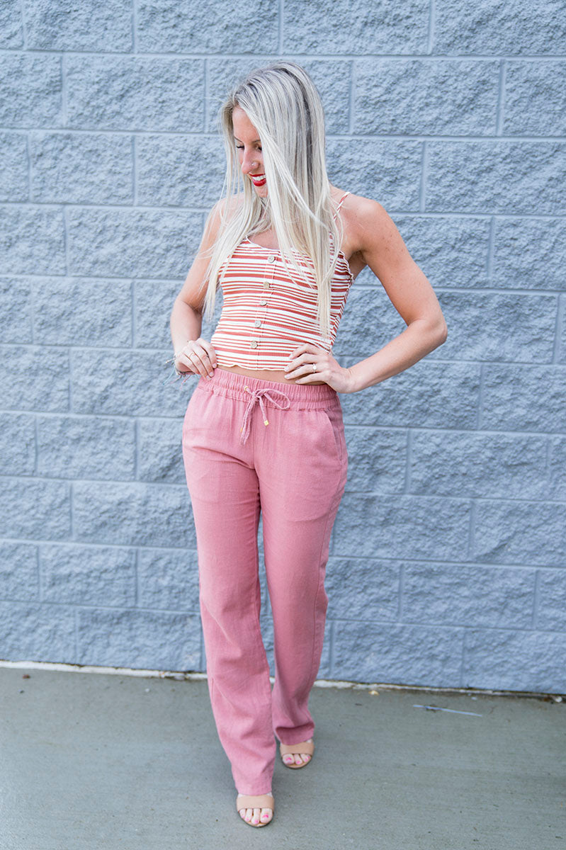 Mackenzie Linen Pants (Mauve) FINAL SALE