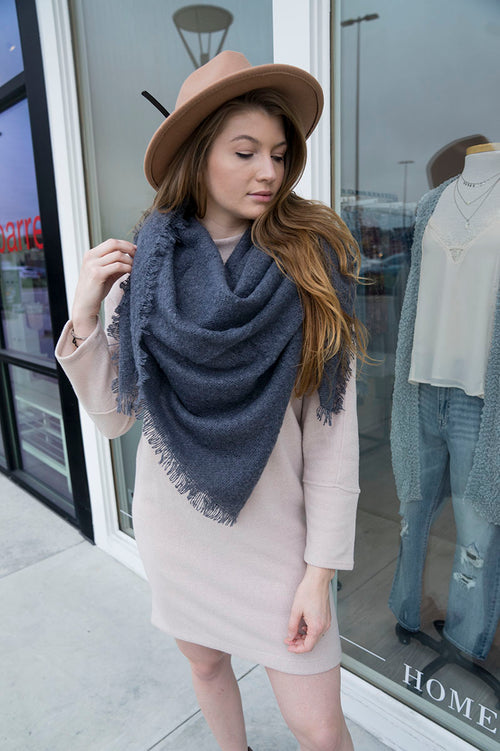 Solid Blanket Scarf (Blue)