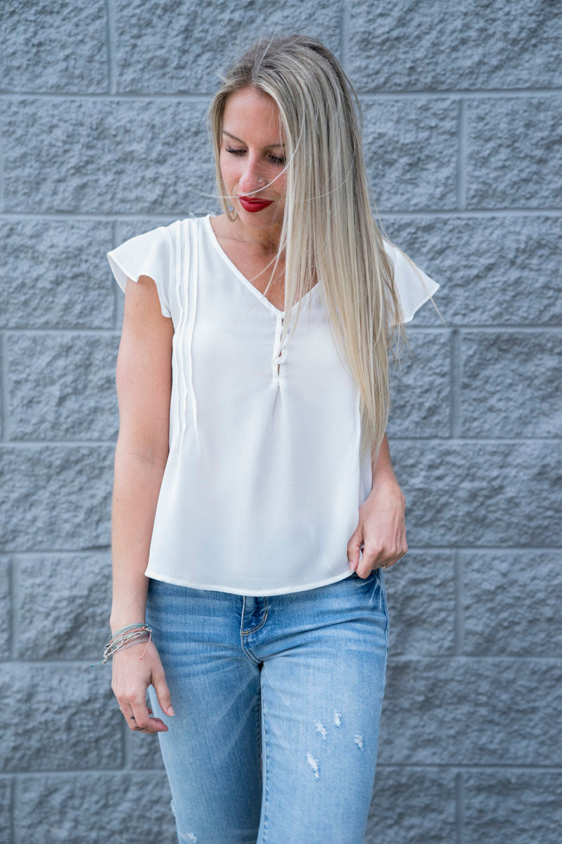 Eliana Ruffle Top (White)