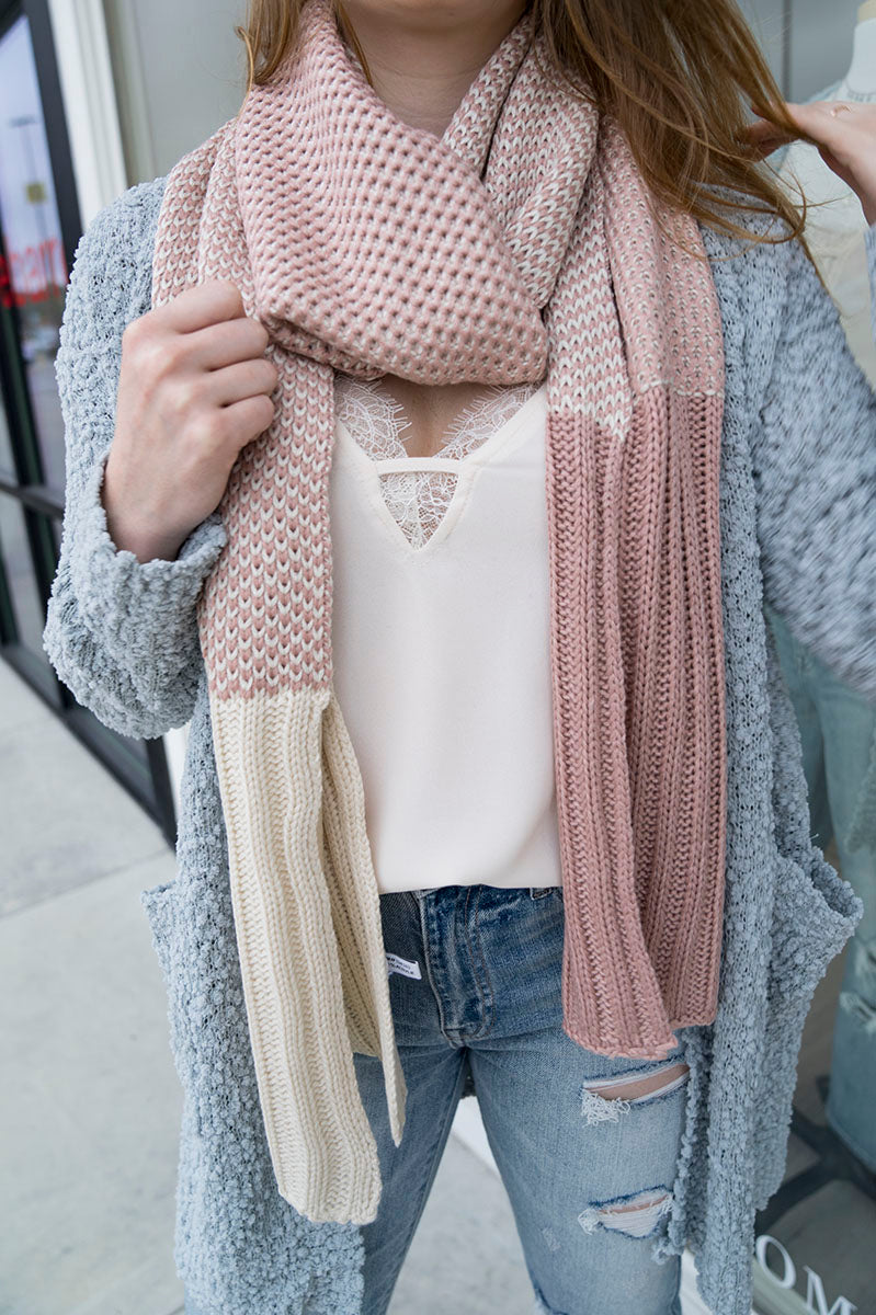 Two Tone Knit Scarf (Pink)