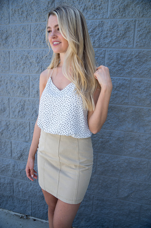 Lizzie Polka Dot Tank Top (White)