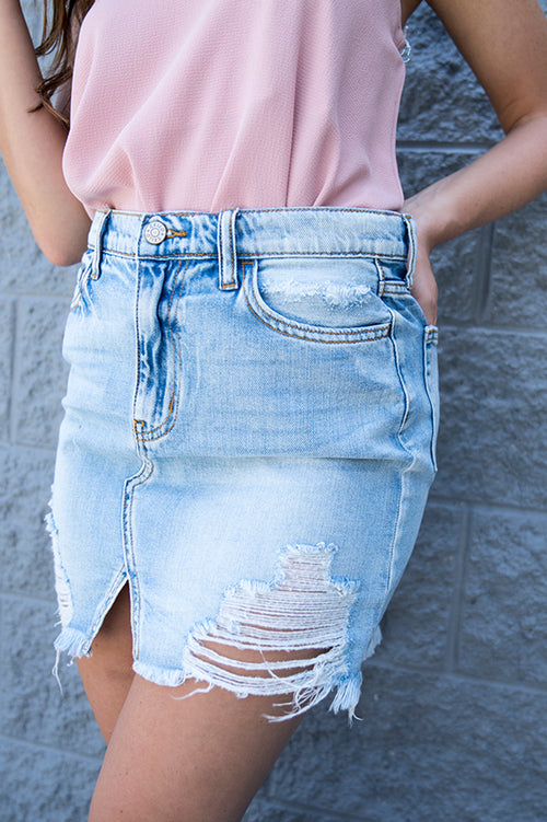 Ciera Distressed Denim Skirt