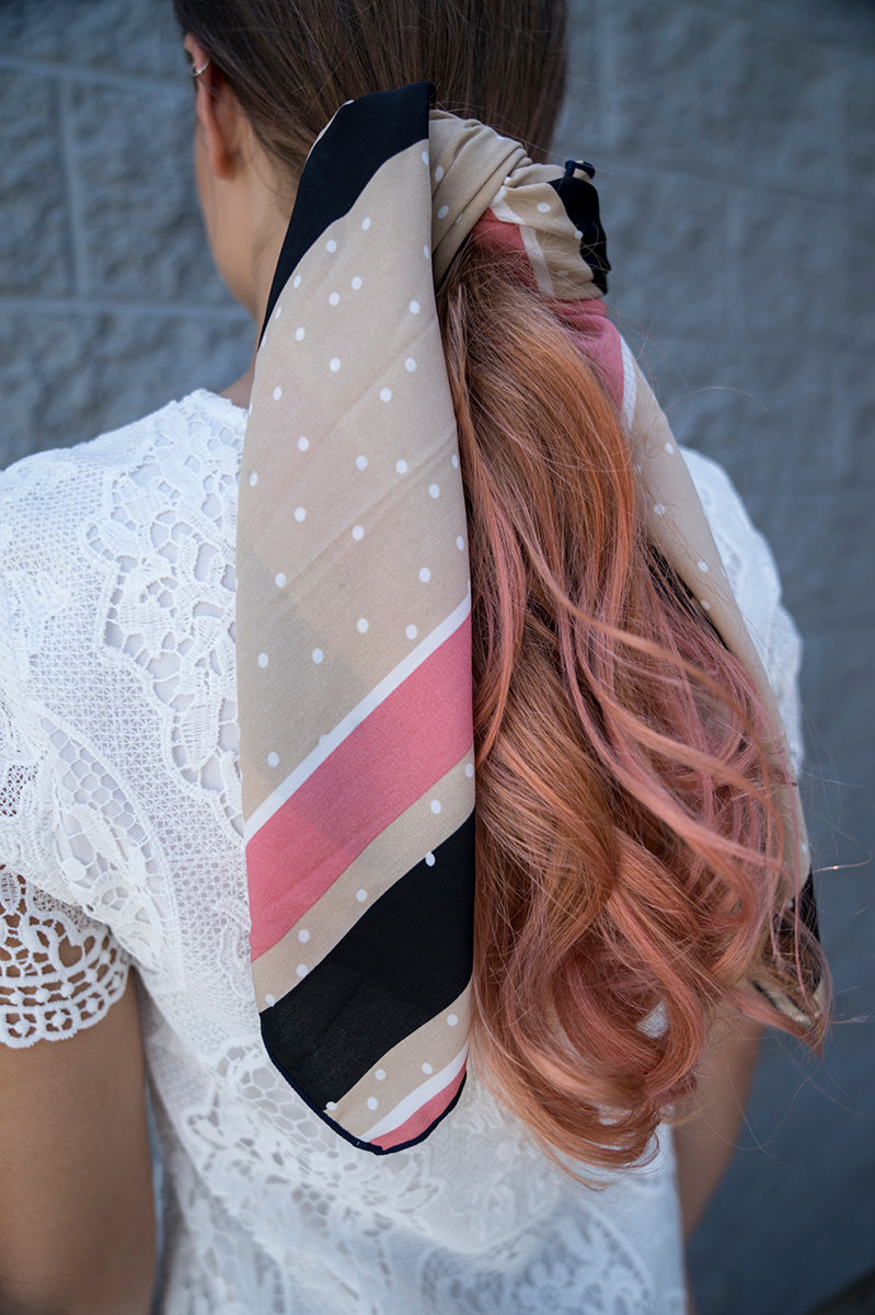 Stripe and Polka Dot Print Silky Scarf