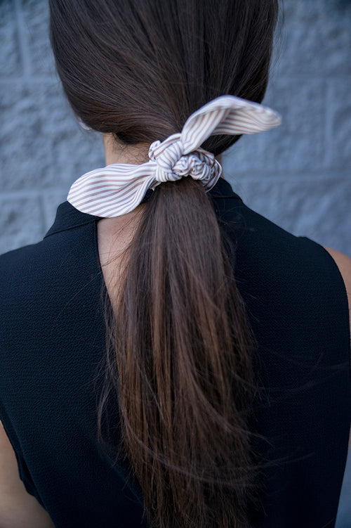 Dina Striped Hair Scrunchie (Taupe)