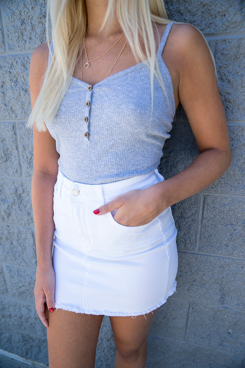 Annika White Denim Skirt FINAL SALE