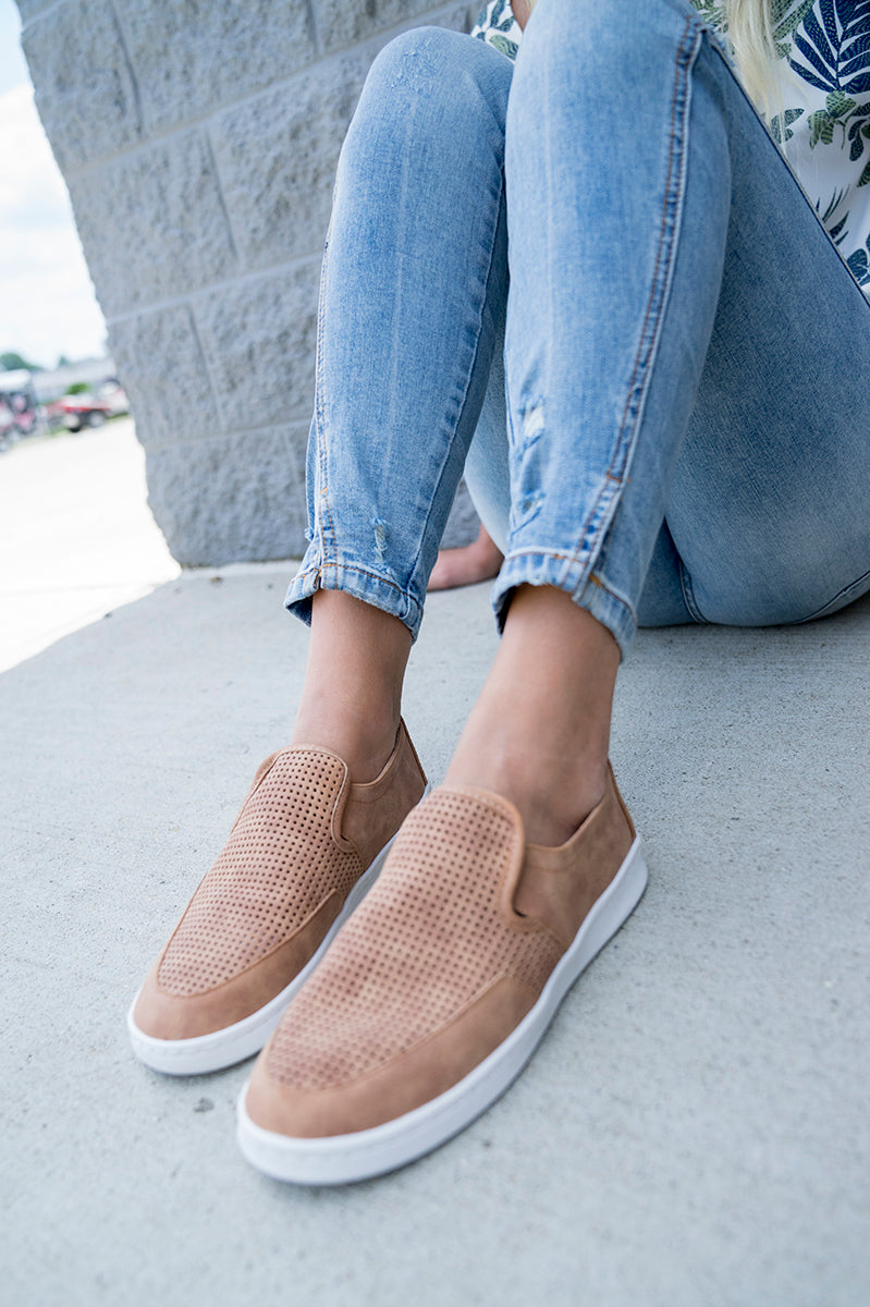 Go Anywhere Faux Suede Slip Ons  (Tan)