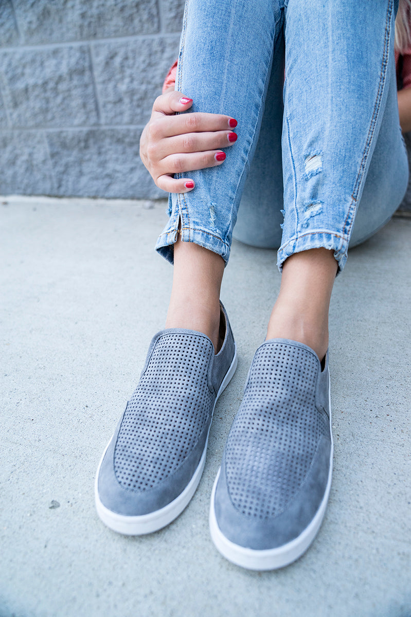 Go Anywhere Faux Suede Slip Ons (Gray)