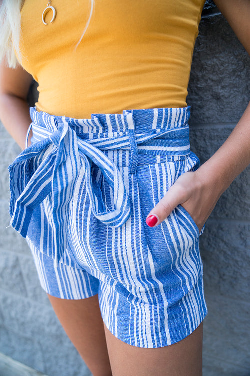 Joey Striped Paperbag Shorts