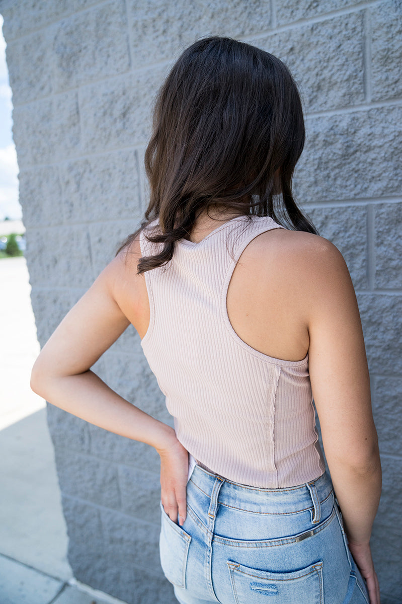 Juneau Racer Back Tank Top (Beige) FINAL SALE