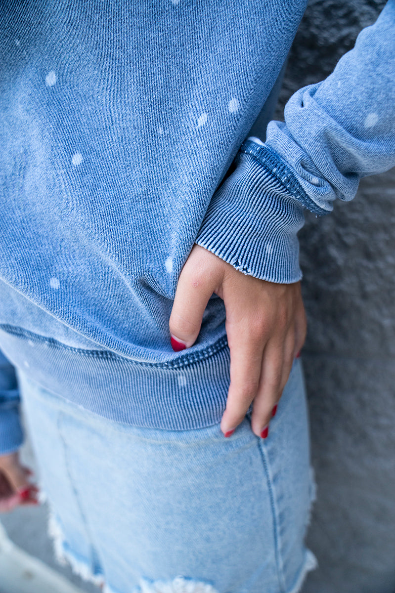 Z Supply Knit Denim Bleach Pullover